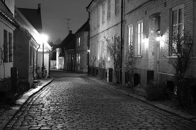 cobblestoneroadatnight